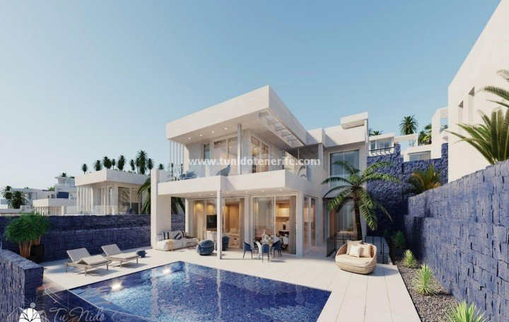 Luxury villas with pool and stunning ocean views in a prestigious area in the South of Tenerife, for sale »# 2073